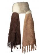 Anna kid mohair -huivi, 50x200cm,col.blocking brown