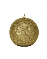 Glitter pallokynttilä, 10cm, kultainen glitter