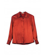 Malene-silkkikauluspaita, rust (ruosteenpunainen)