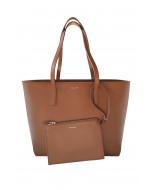 Estelle shopper with zipper, cognac, back