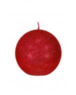 Glitter-pallokynttilä, 10cm, punainen kimalle