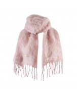 Kid mohair scarf, 35x160cm, silver pink
